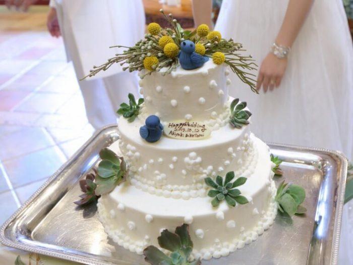 自然をモチーフにしたウエディングケーキ