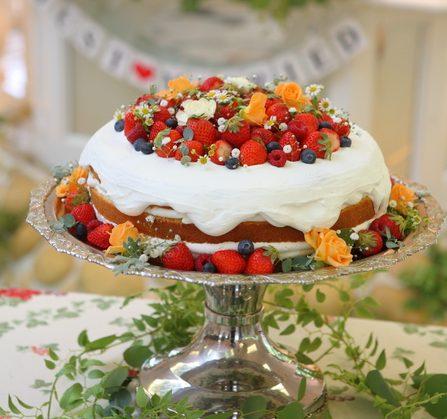 葉っぱやベリー系のネイキッドケーキ